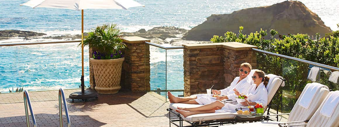 Couple lounging at Spa Montage Laguna Beach