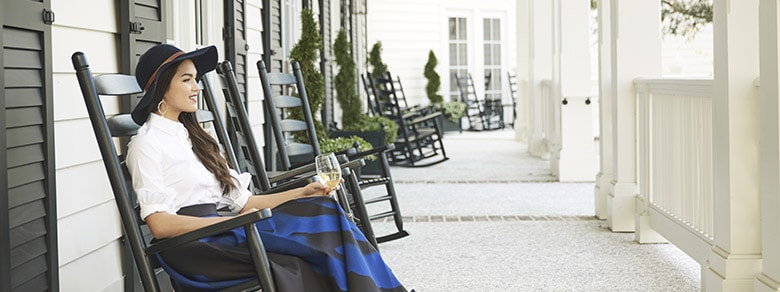 Front Porch Woman in Rocking Chair