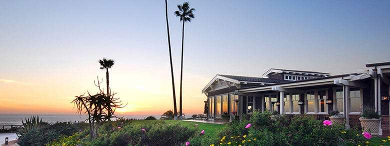 Studio Restaurant at Montage Laguna Beach of the Sun Setting over the Pacific Ocean