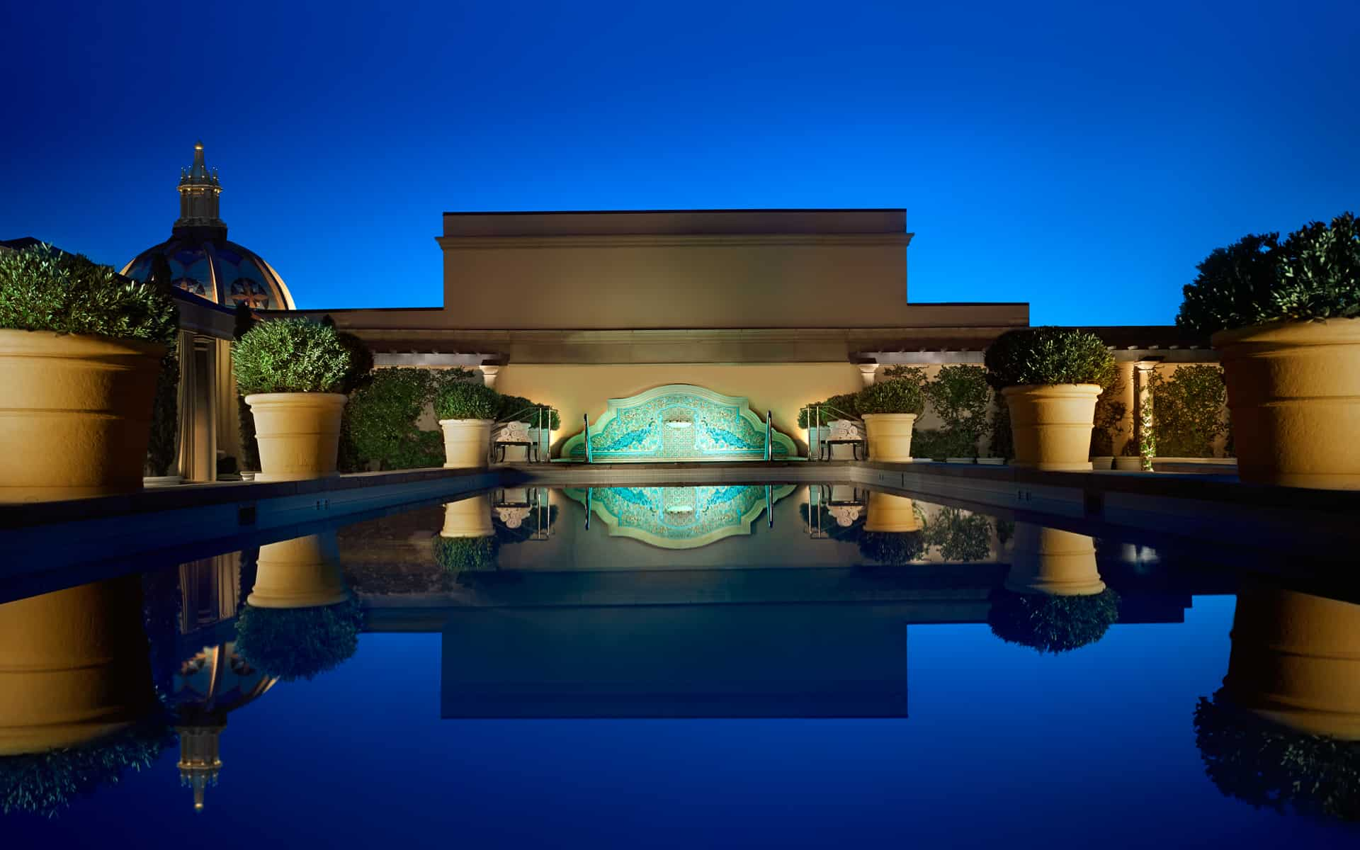 Montage Beverly Hills Rooftop Pool at Night