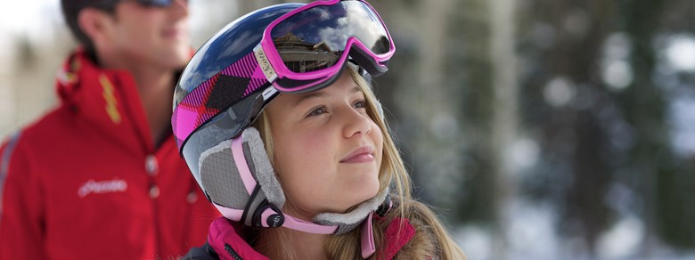 young skier girl smiling