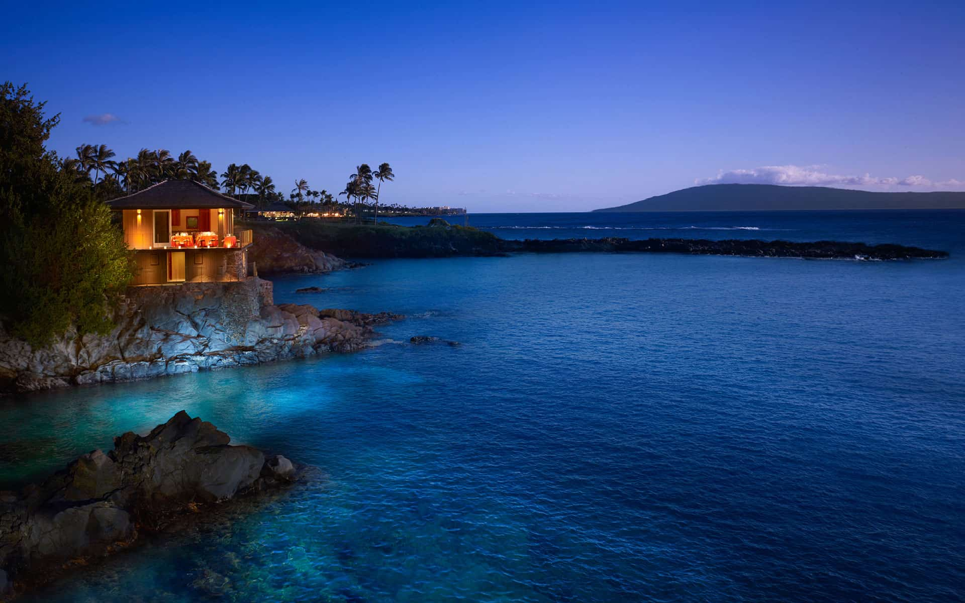 Montage Kapalua Bay's Cliff House Ocean Front Venue at Night